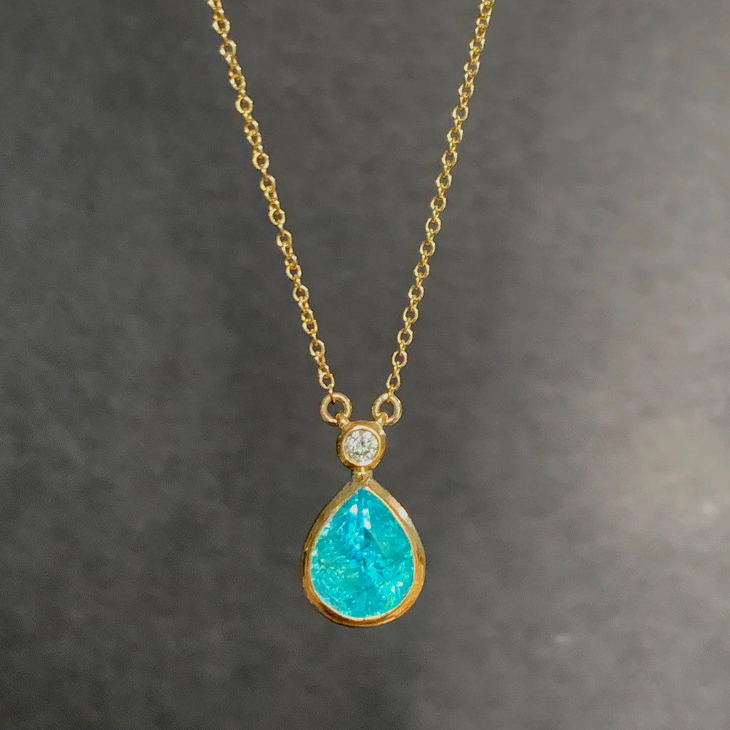 Apatite Drop and Diamond Pendant 9ct Gold Necklace