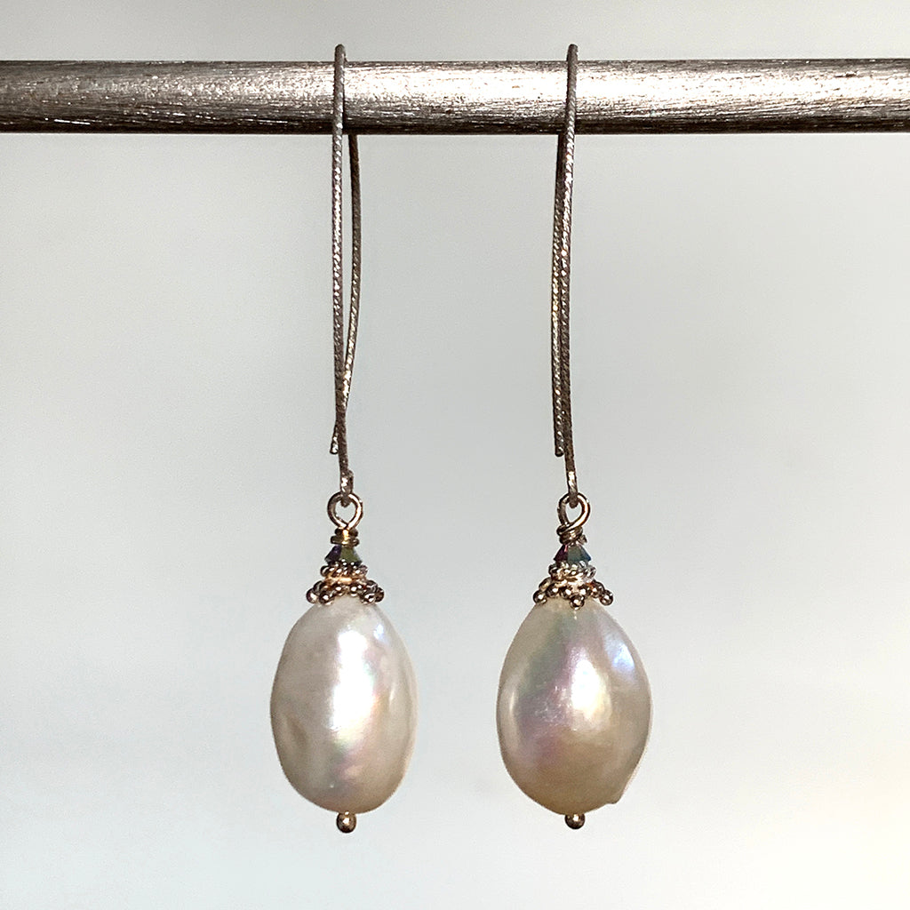 Extra Large Baroque Pearl Silver Arc Earrings
