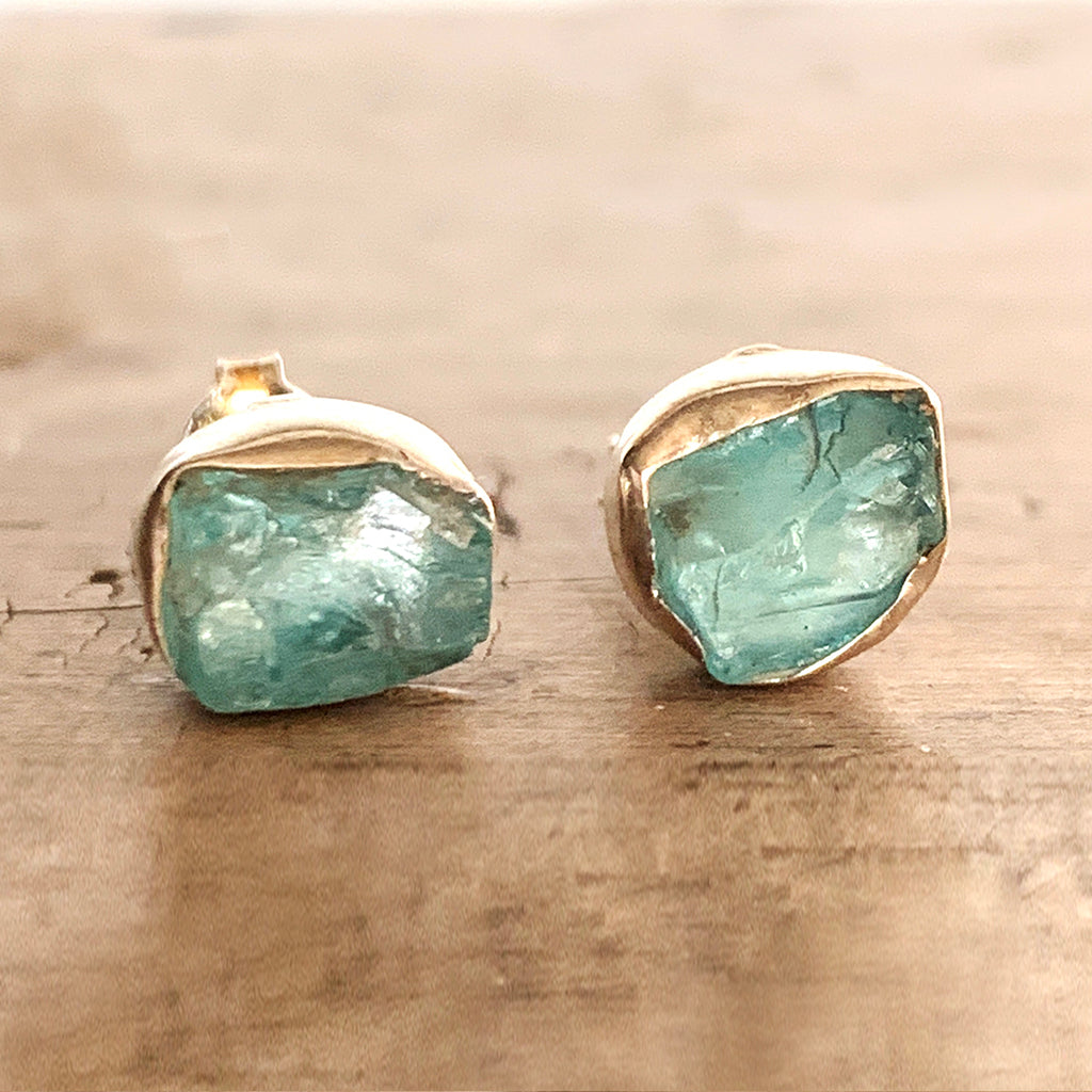 Rough Cut Aquamarine Stud Earrings
