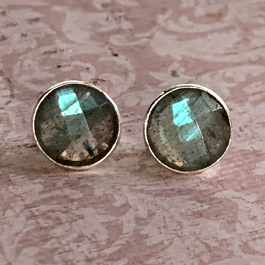Faceted Labradorite Round Stud Earrings