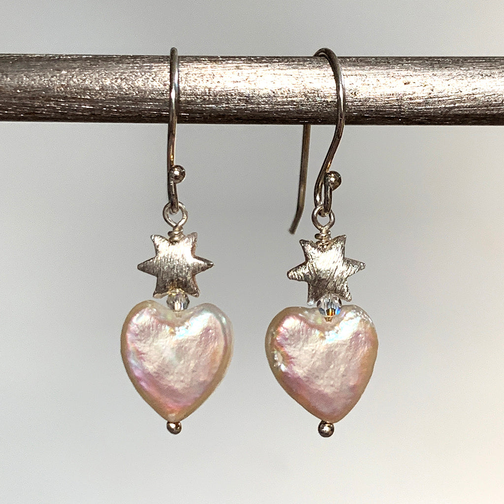 Heart Pearl and Frosted Star Earrings