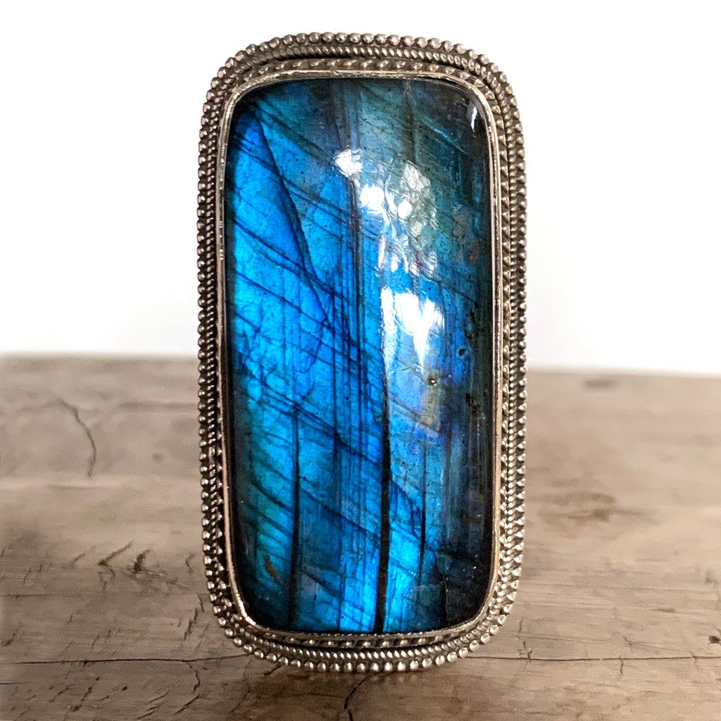 Extra Large 'Statement' Labradorite Ring AAA Quality Stone