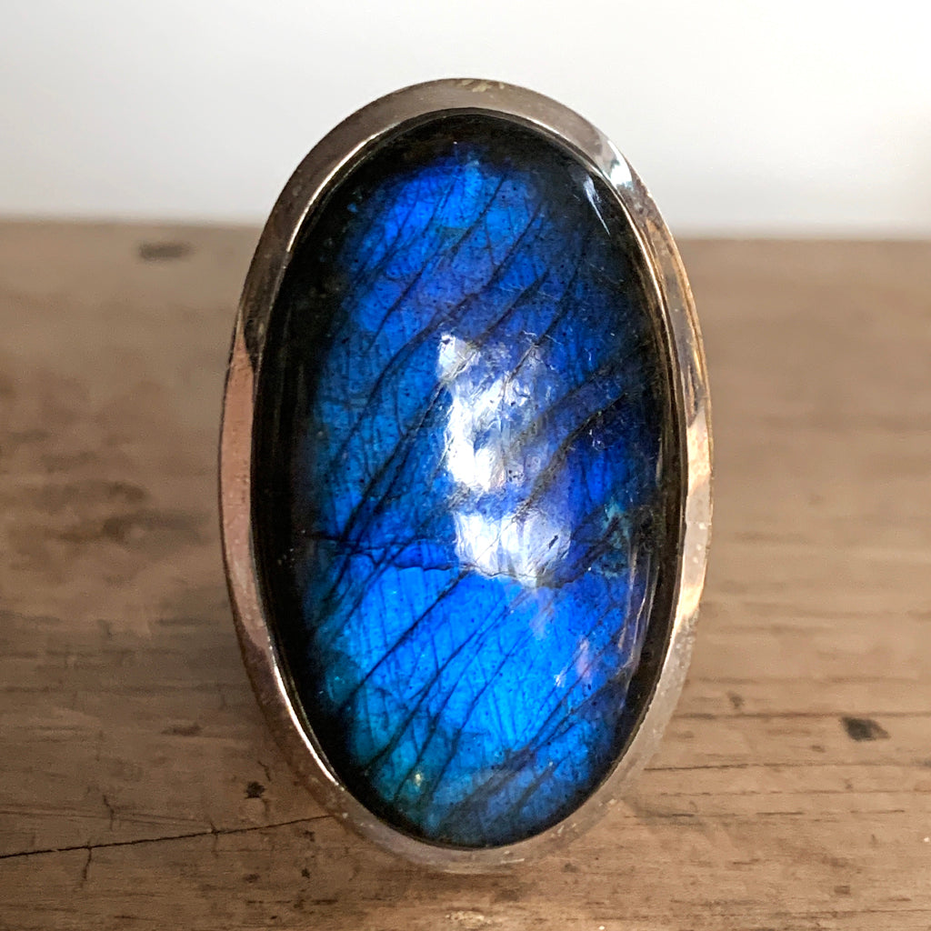Incredible AAA Quality Large Oval Labradorite Ring