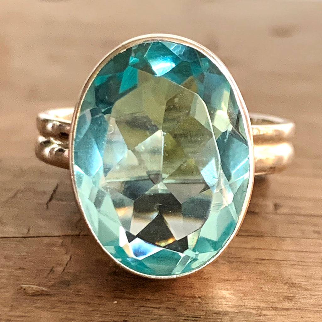Large Blue Topaz and Silver Ring