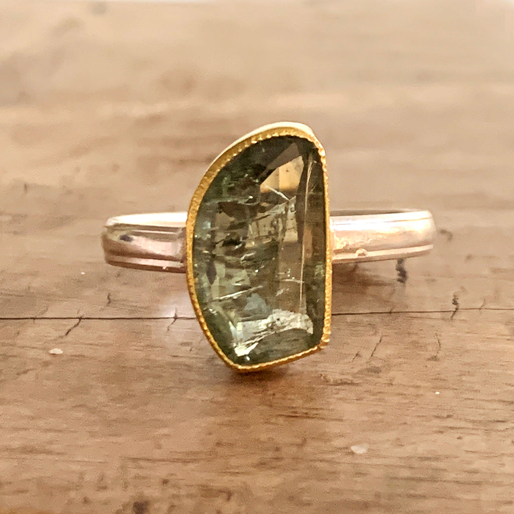 Irregular Green Tourmaline on Silver and Gold Ring