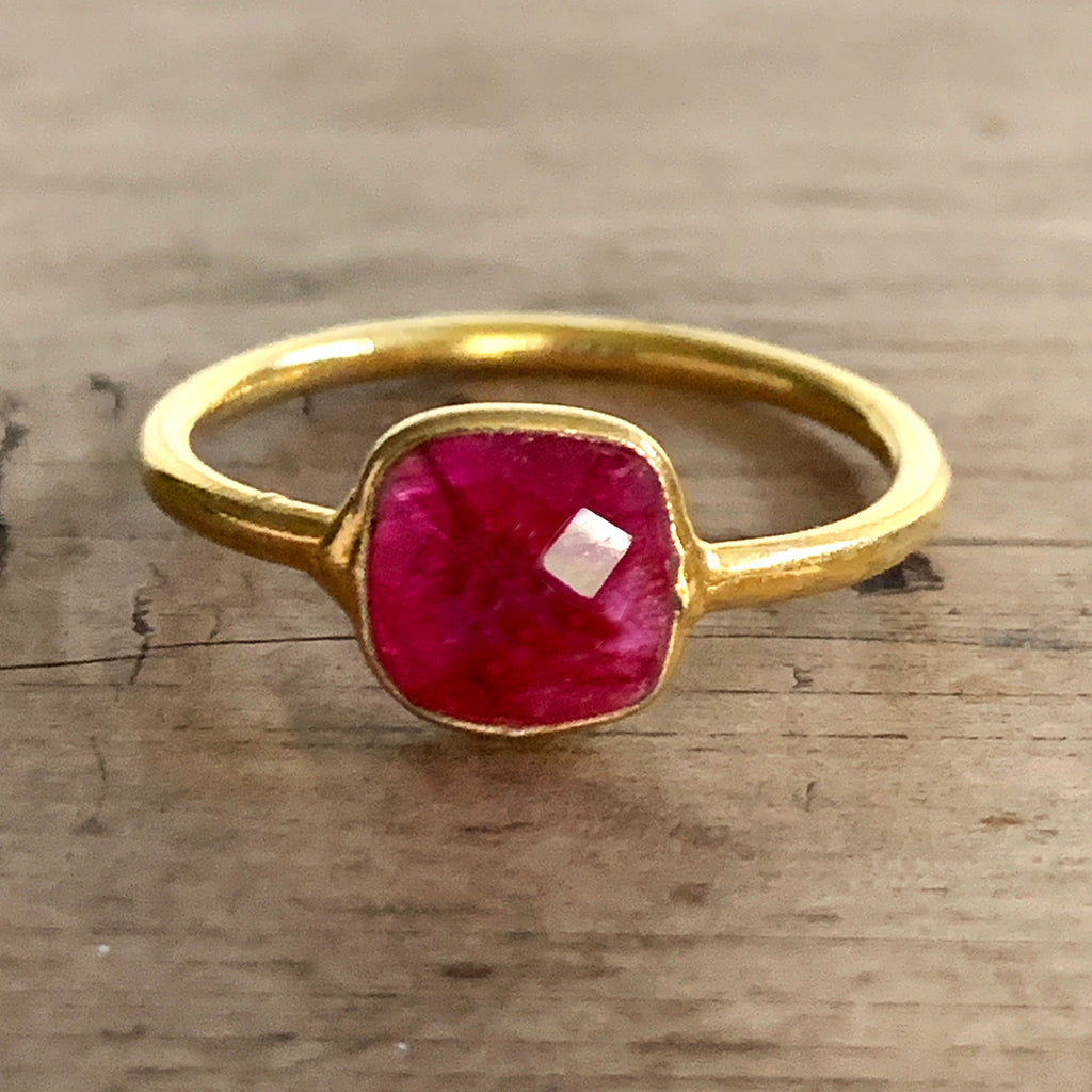 Small Square Ruby Gold Vermeil Ring