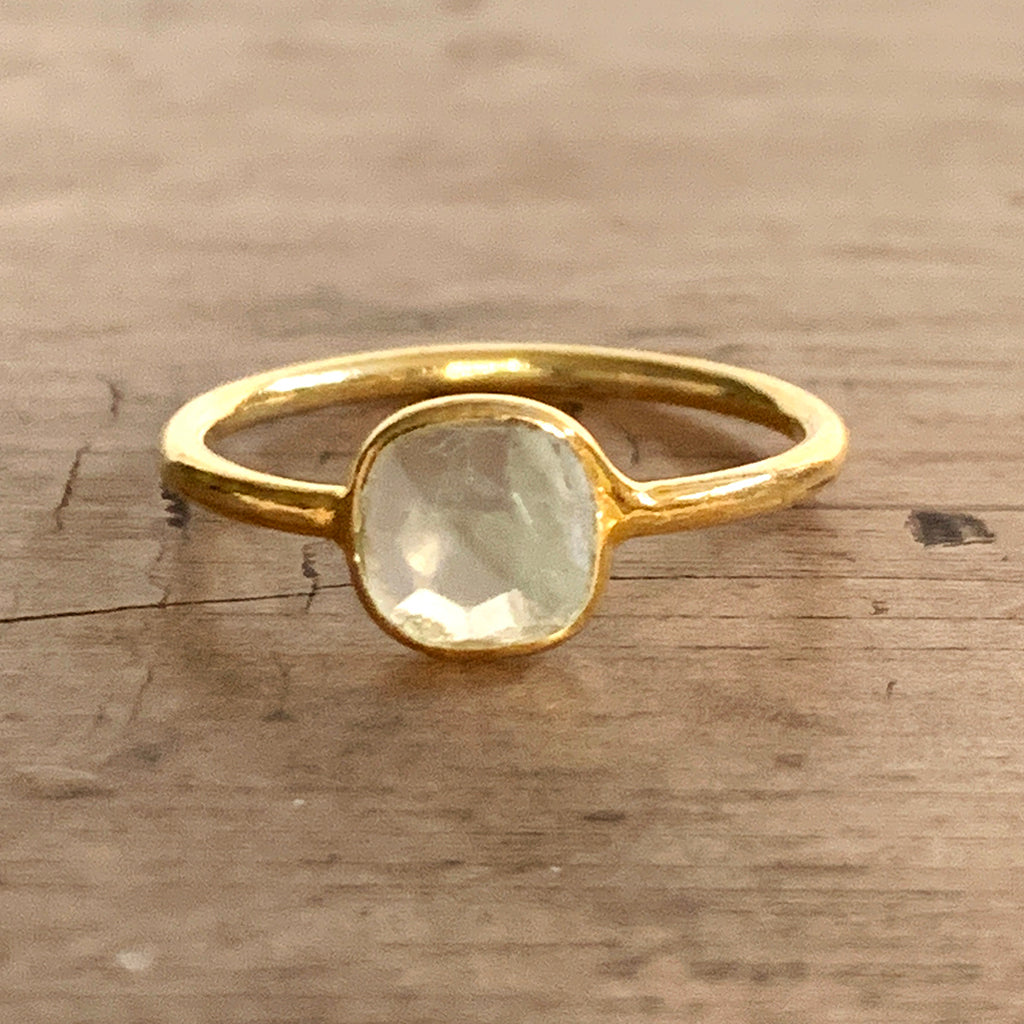 Small Square Moonstone Gold Vermeil Ring