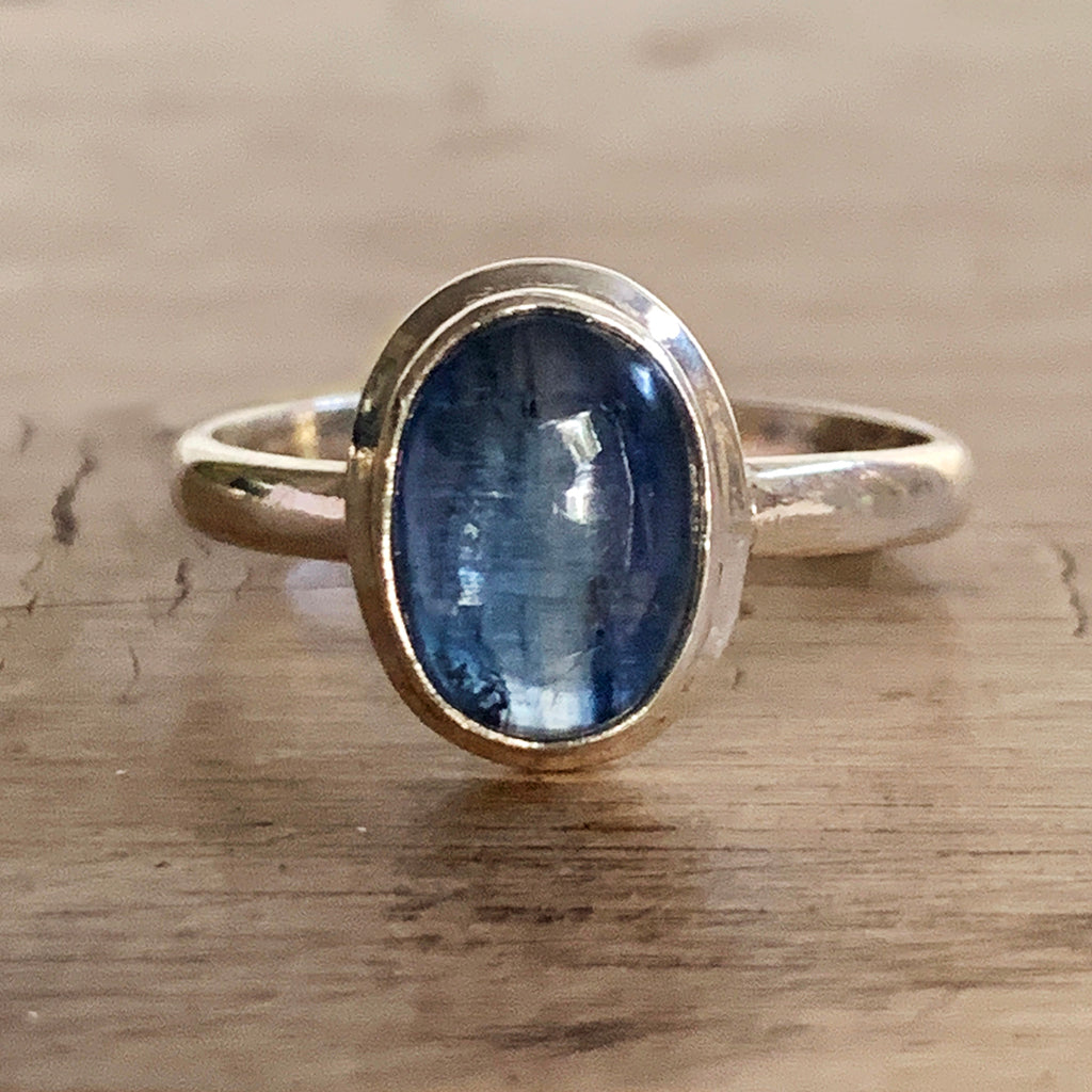 Beautiful Oval Kyanite and Silver Ring
