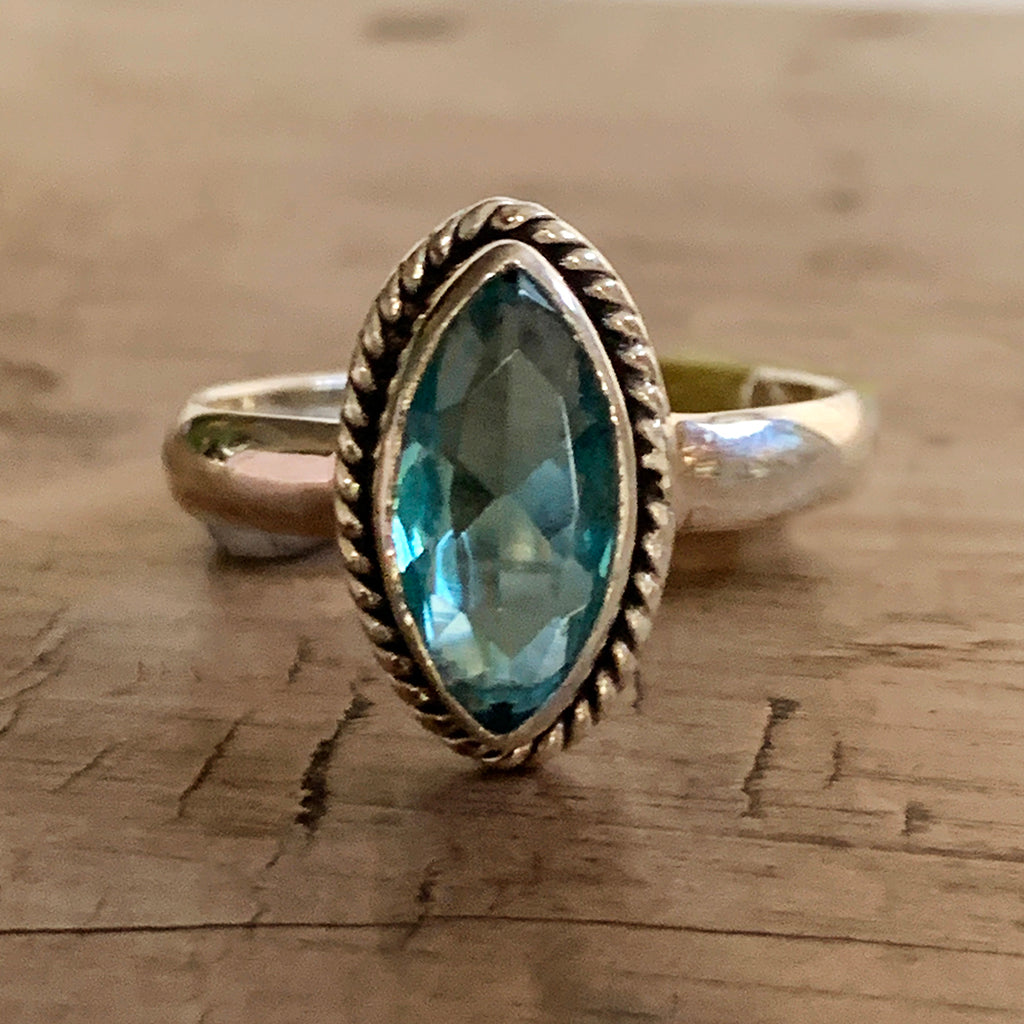 Marquise Cut Blue Topaz and Silver Ring