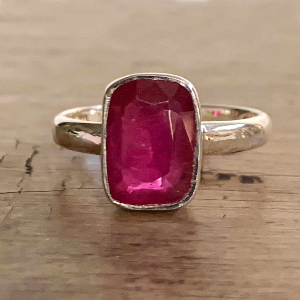 Soft Rectangular Ruby and Silver Ring