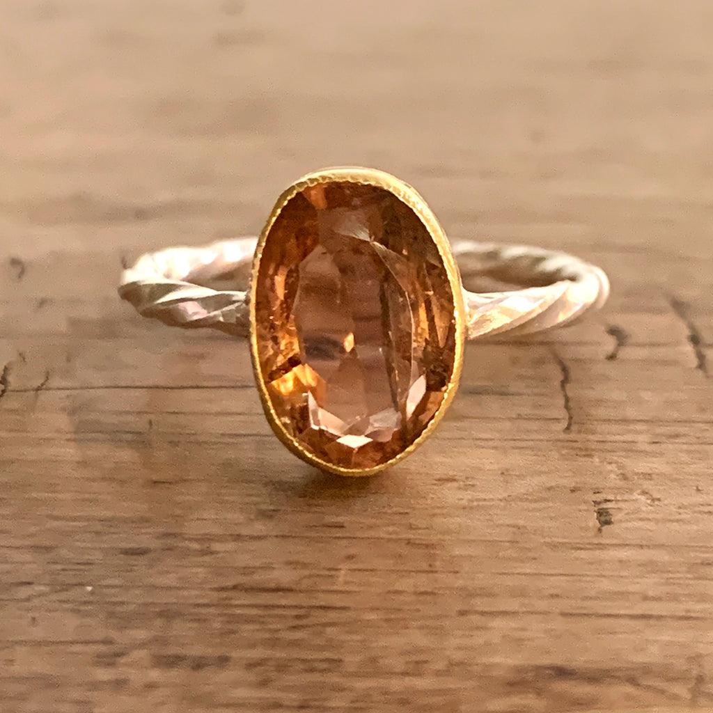 Dark Champagne Coloured Tourmaline Irregular Oval in Gold on Twisted Silver Ring