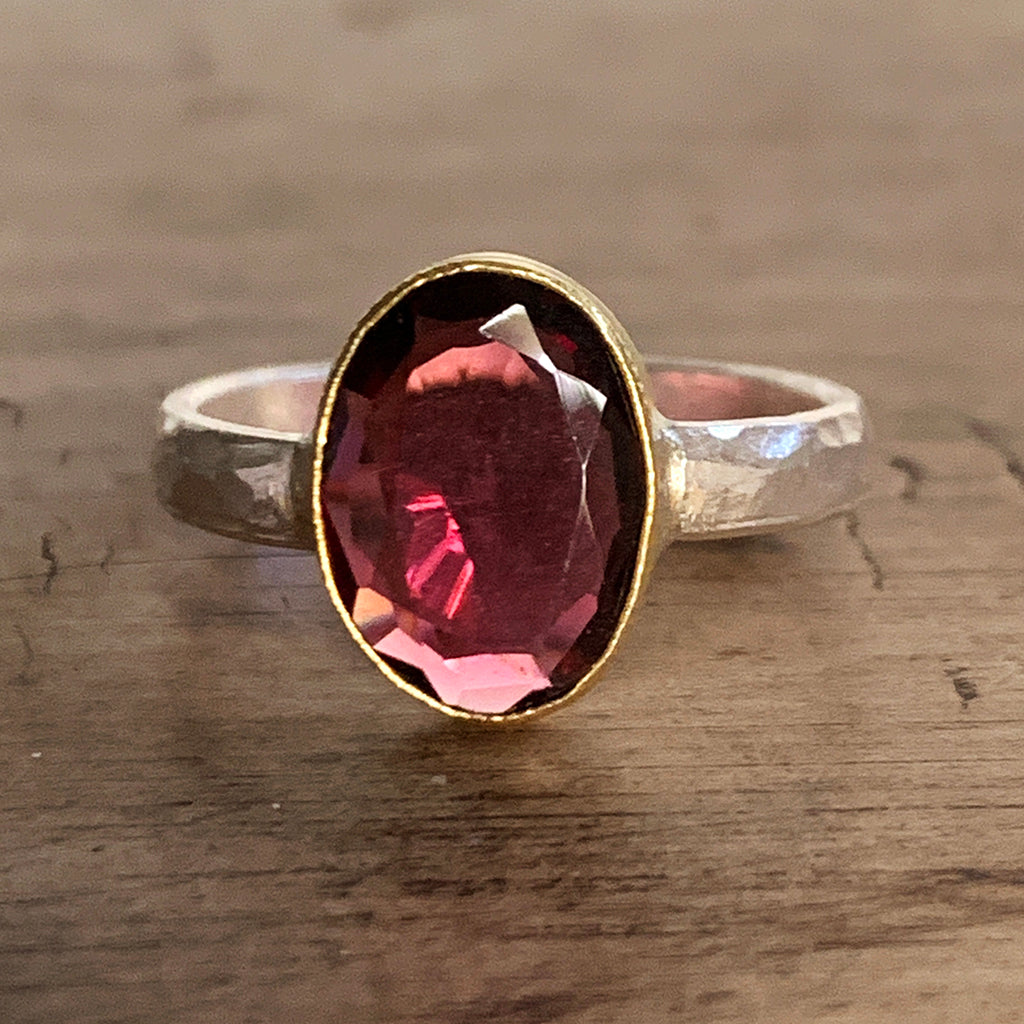 Irregular Oval Pink Tourmaline in Gold and Silver Ring