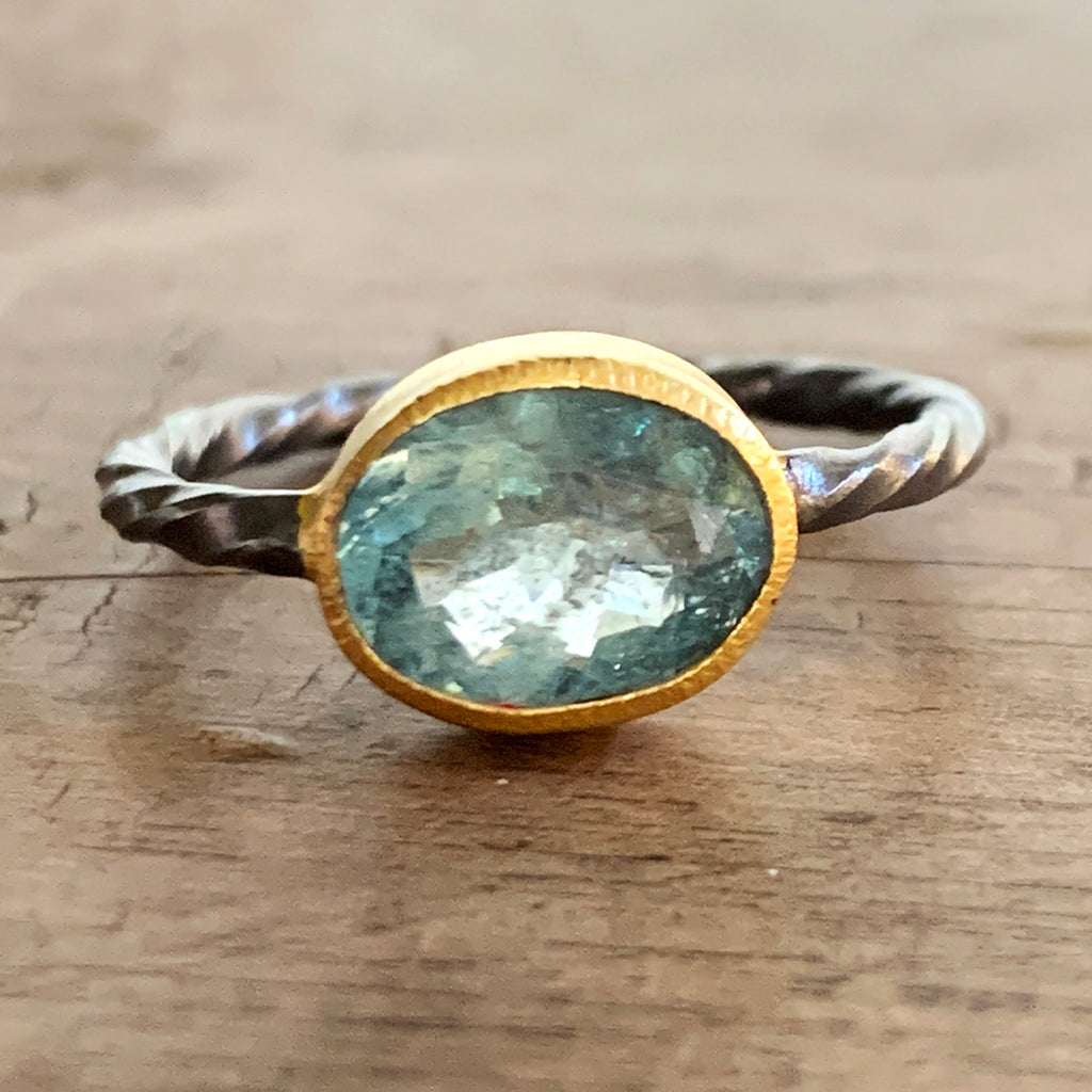 Aquamarine in Gold and Twisted Oxidised Silver Ring