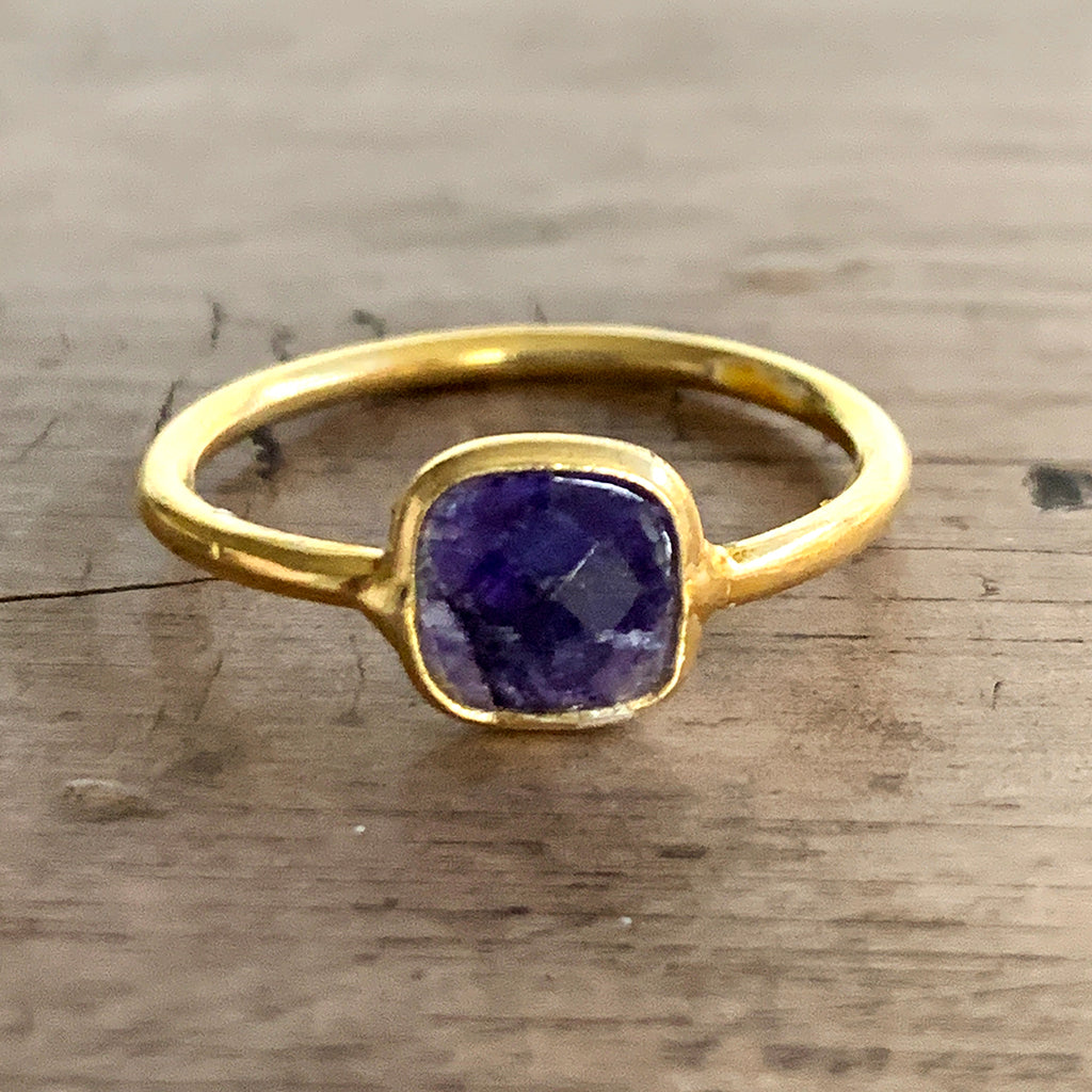 Small Square Sapphire in Gold Vermeil Ring