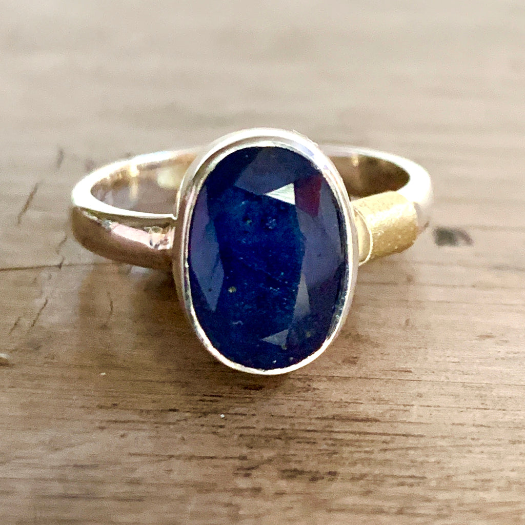 Large Oval Sapphire Set in Silver Ring