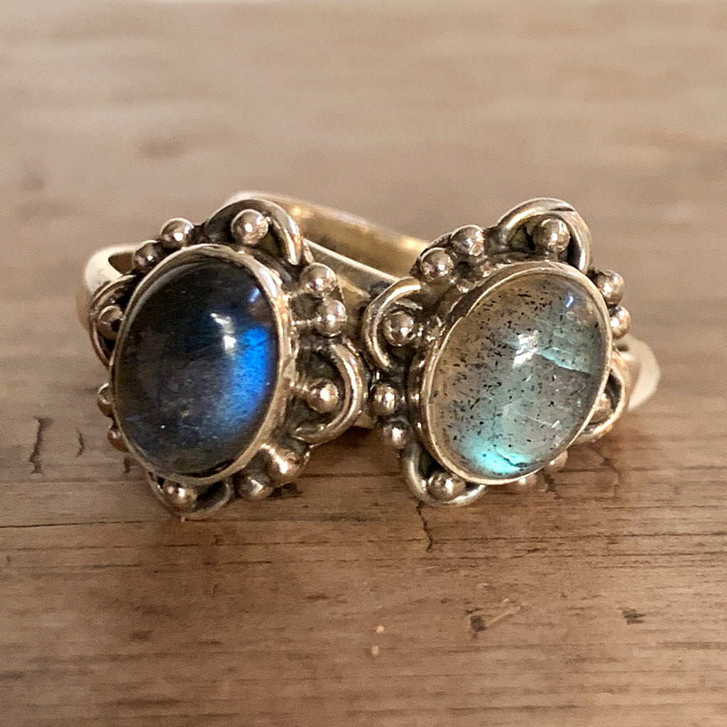 Small Oval Dark Labradorite Ring