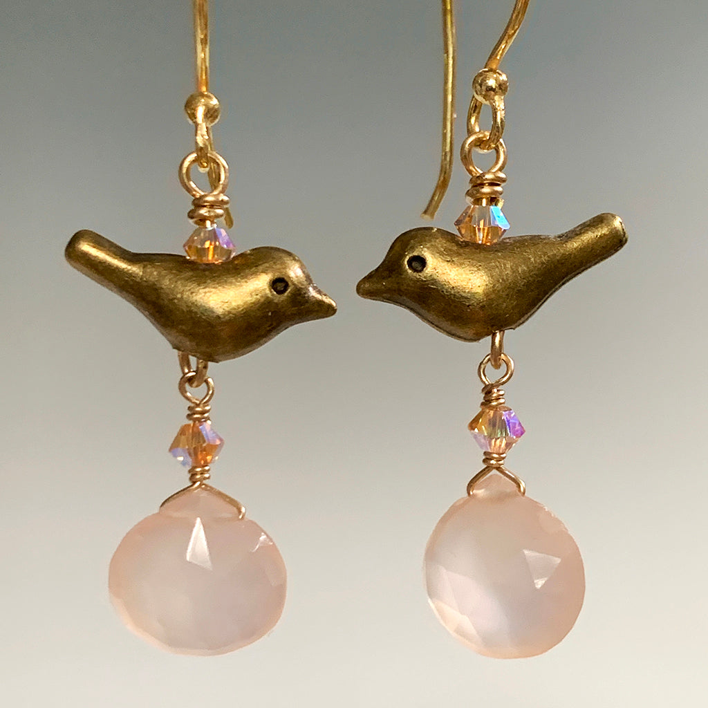Little Bronze Birds with Faceted Pink Chalcedony Briolette Drop Earrings