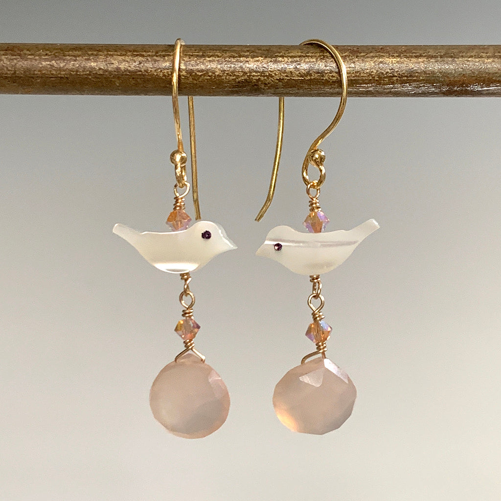 Mother of Pearl Bird & Pink Chalcedony Briolette Earrings