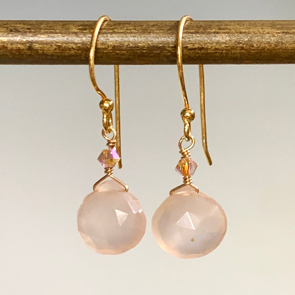 Faceted Pink Chalcedony Briolette Drop Earrings