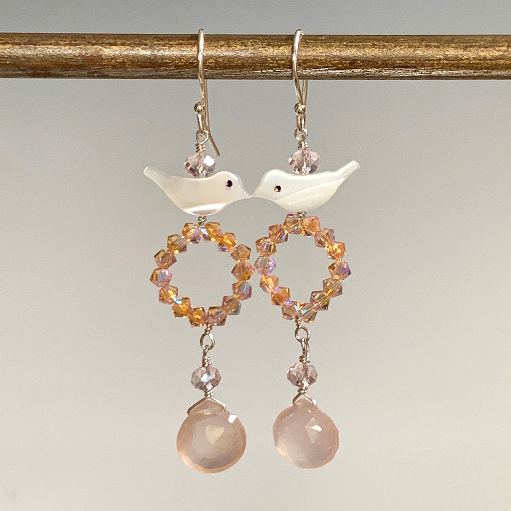 Mother of Pearl Bird with Pink Swarovski Crystal Hoop & Pink Chalcedony Drop Earrings