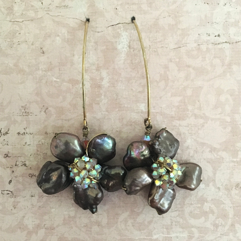 Keshi Pearl Flower and Crystal Arc Earrings