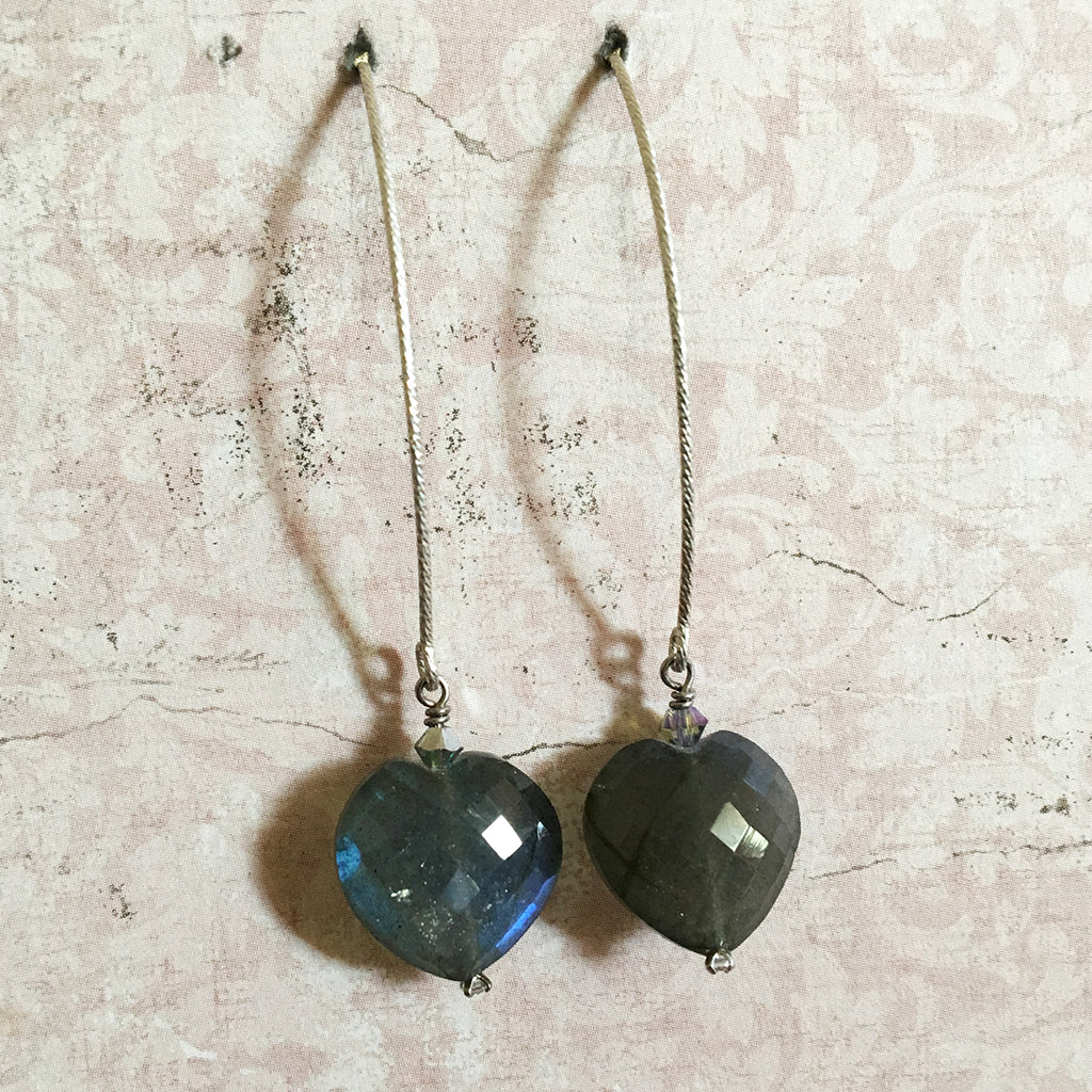 Labradorite Faceted Heart Arc Earrings