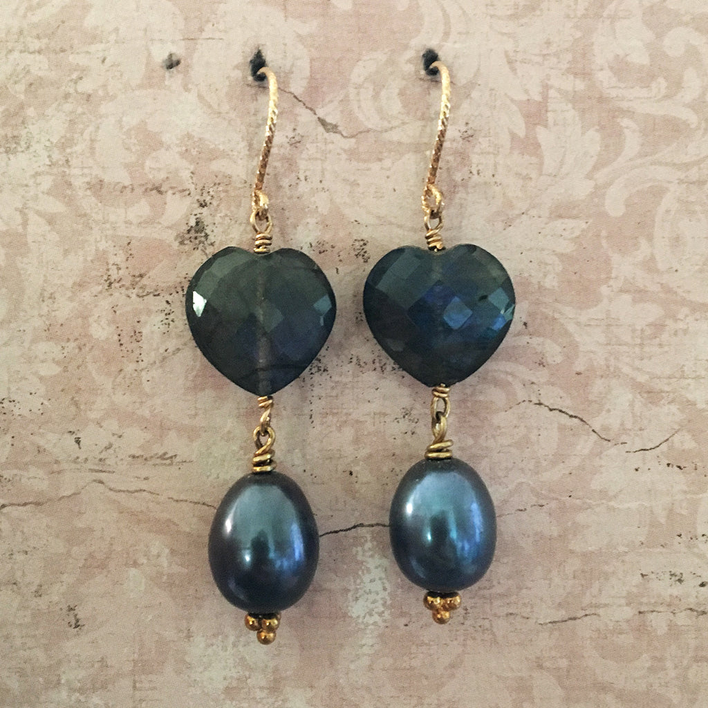 Labradorite Faceted Heart and Drop Pearl Earrings