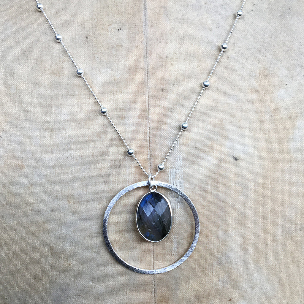 Labradorite Halo Necklace on Dotted Chain Necklace