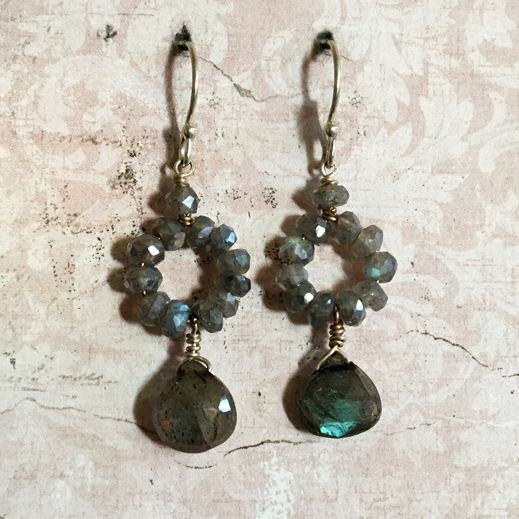 Labradorite Hoop and Drop Earrings