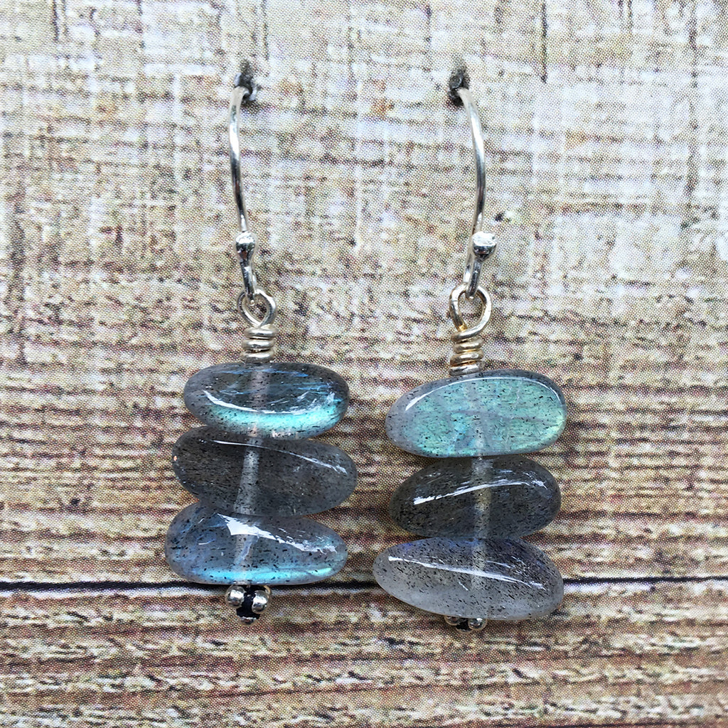 Labradorite Smooth Pebble Earrings