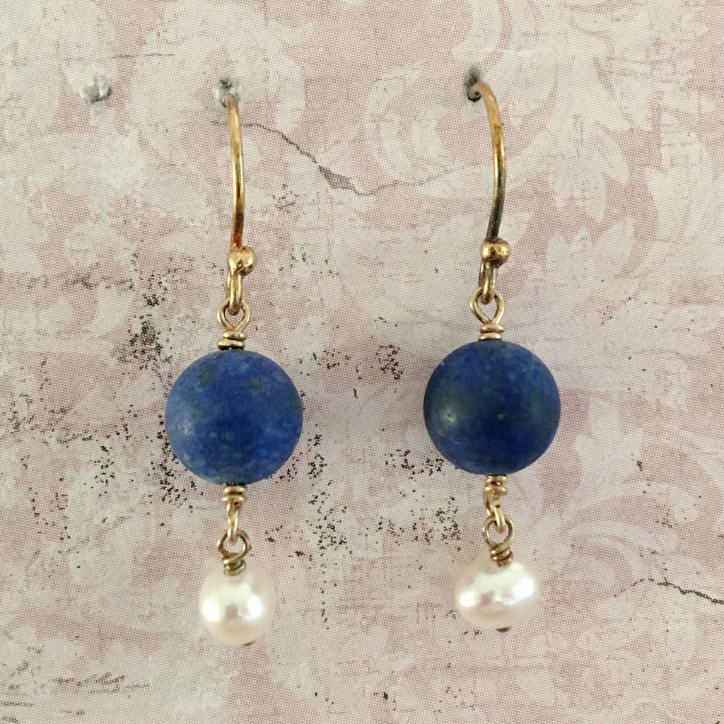 Lapis Lazuli and Pearl Earrings