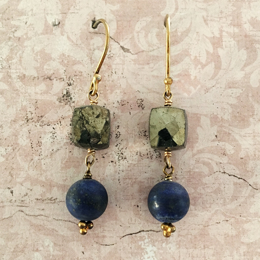 Lapis Lazuli and Pyrites Cube Earrings