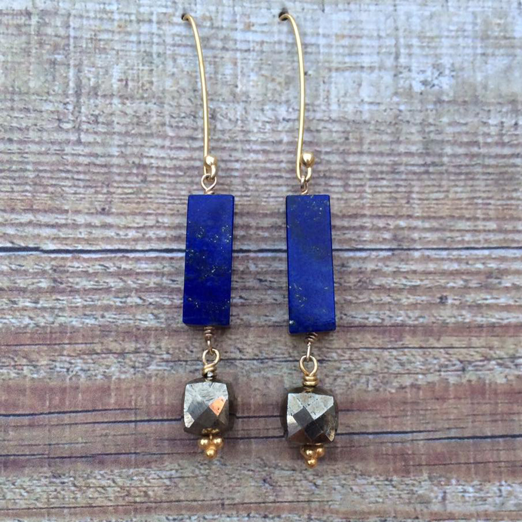 Lapis Lazuli and Pyrite Earrings