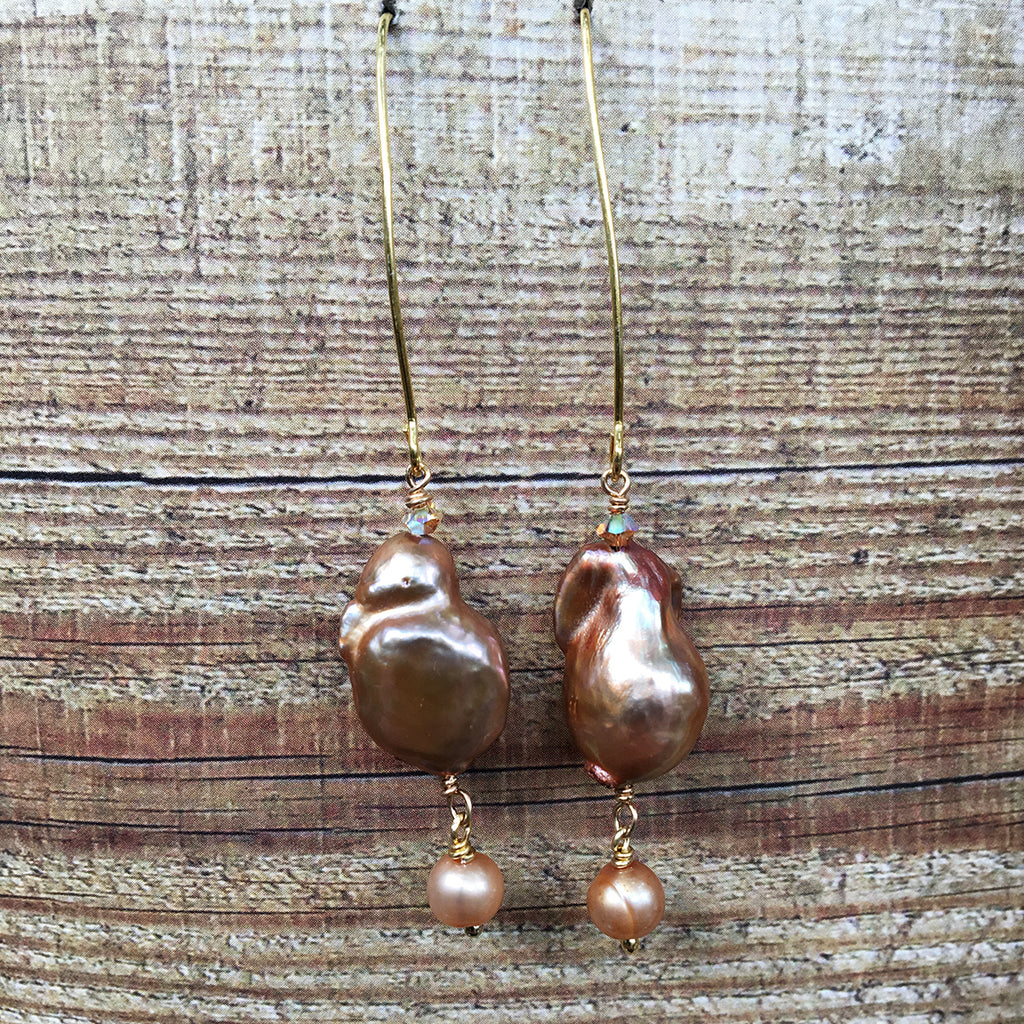 Large Bronze Baroque Pearl Arc Earrings