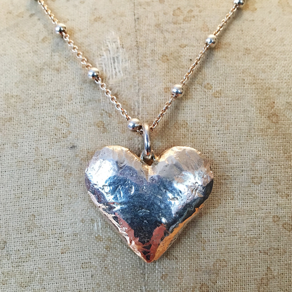 Large Hallmarked Solid Silver Heart Necklace