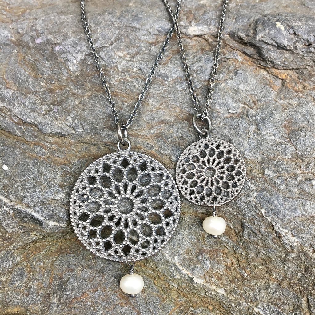 Small Filligree and Drop Pearl Necklace