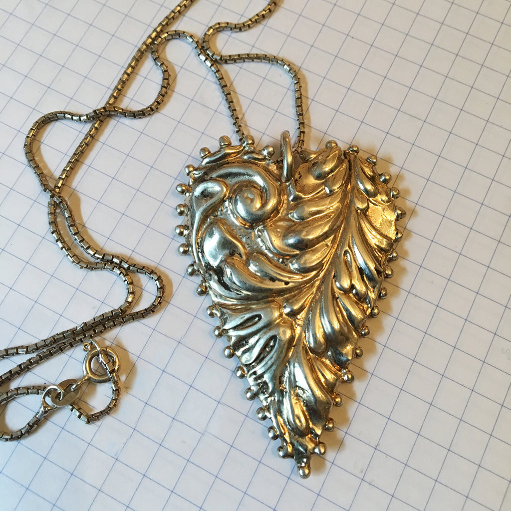Large Solid Silver Dotted Embossed Heart Necklace