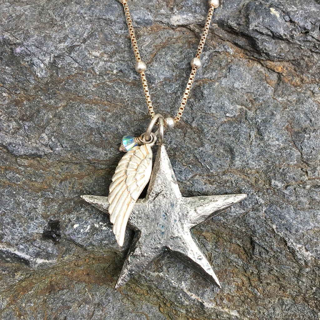Large Star with Angel Wing and Crystal Necklace