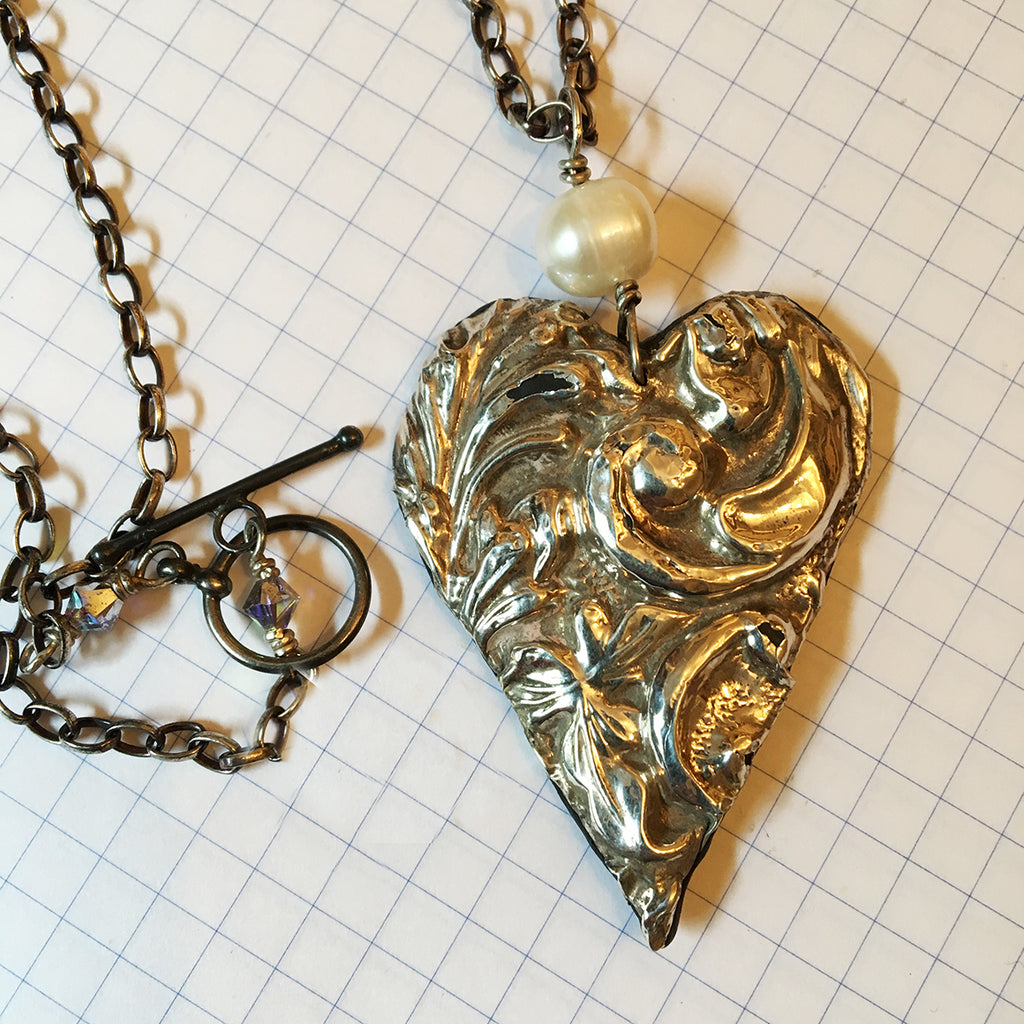 Large Vintage Silver Heart Necklace
