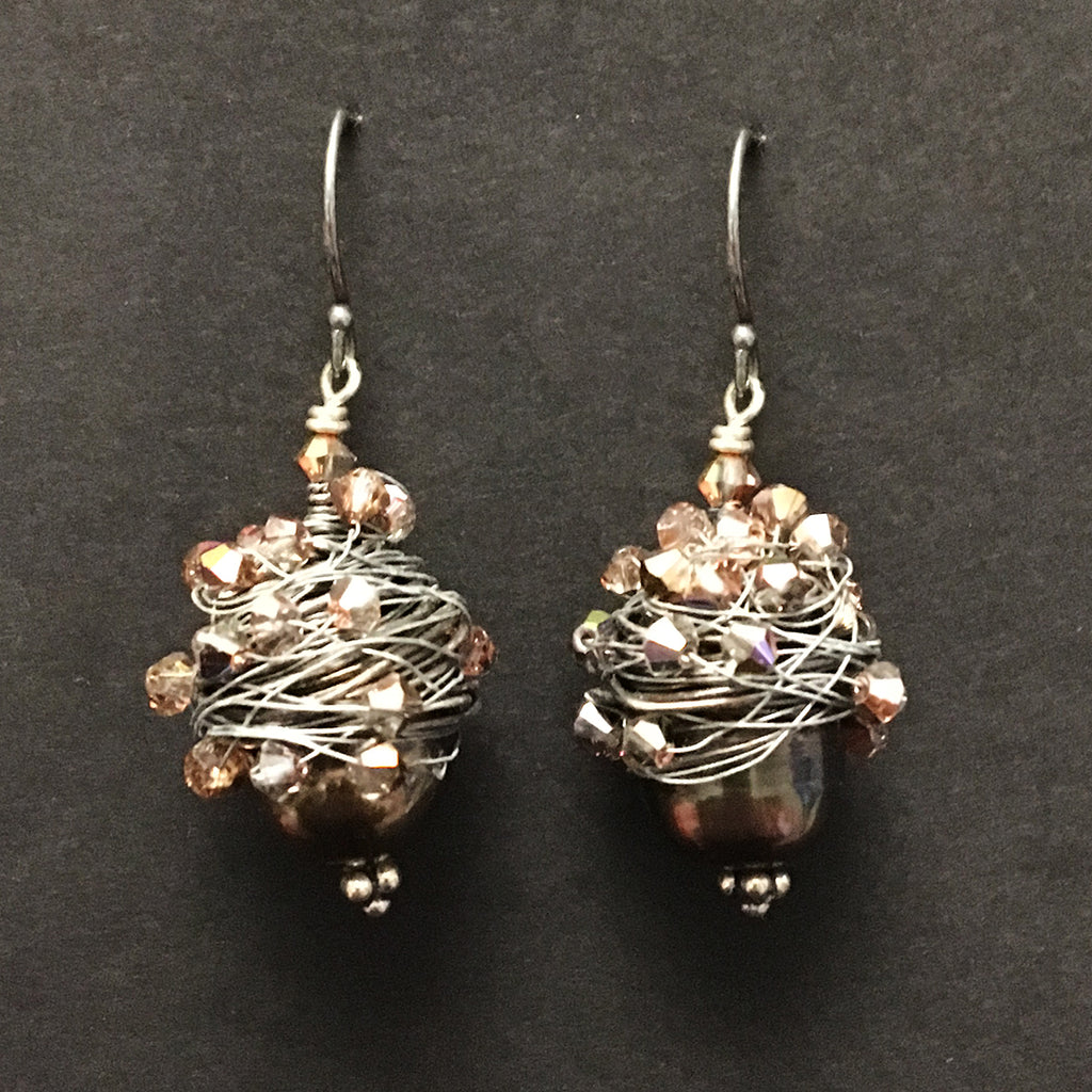 Large Wire Wrapped Pearl and Crystal Earrings