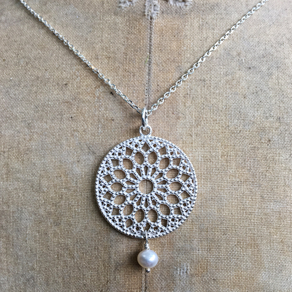 Large Filligree Pendant with Drop Pearl Necklace