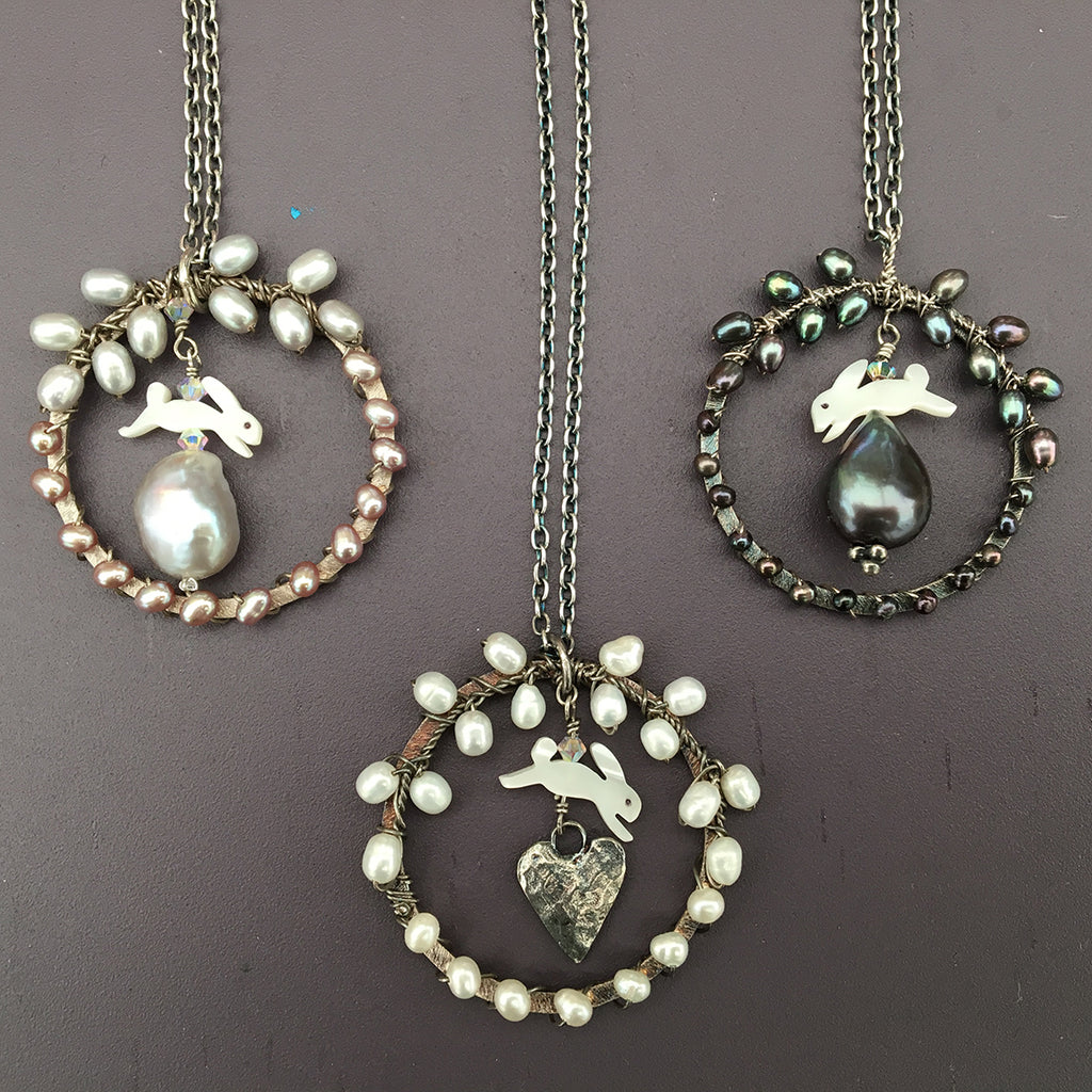 Leaping Hare with Dove Grey Pearl Necklace