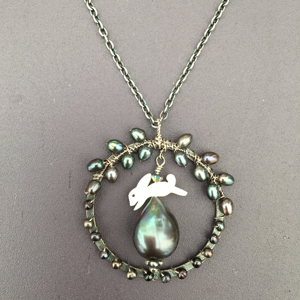 Leaping Hare with Dark Pearl Necklace