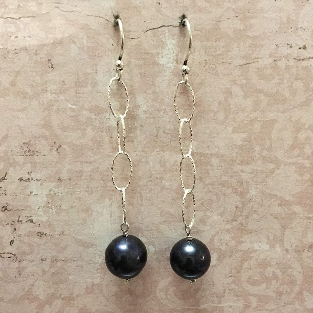 Long Loose Link and Pearl Earrings