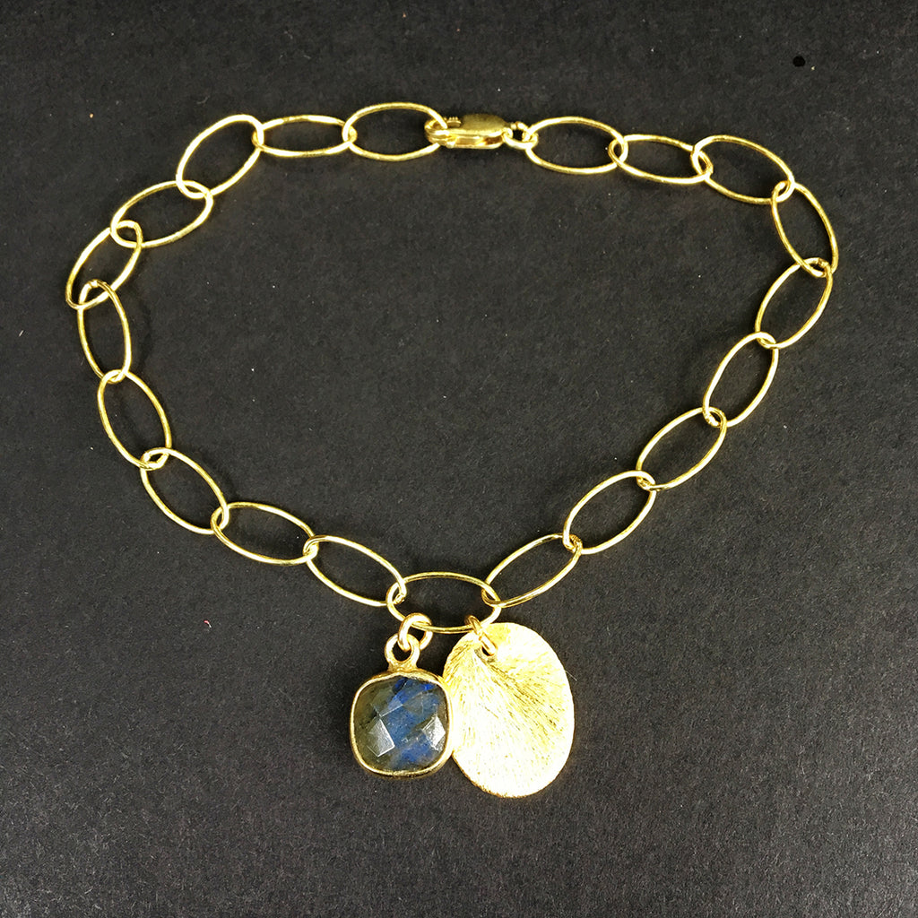 Loose Link Bracelet with Labradorite Pendant and Gold Tag