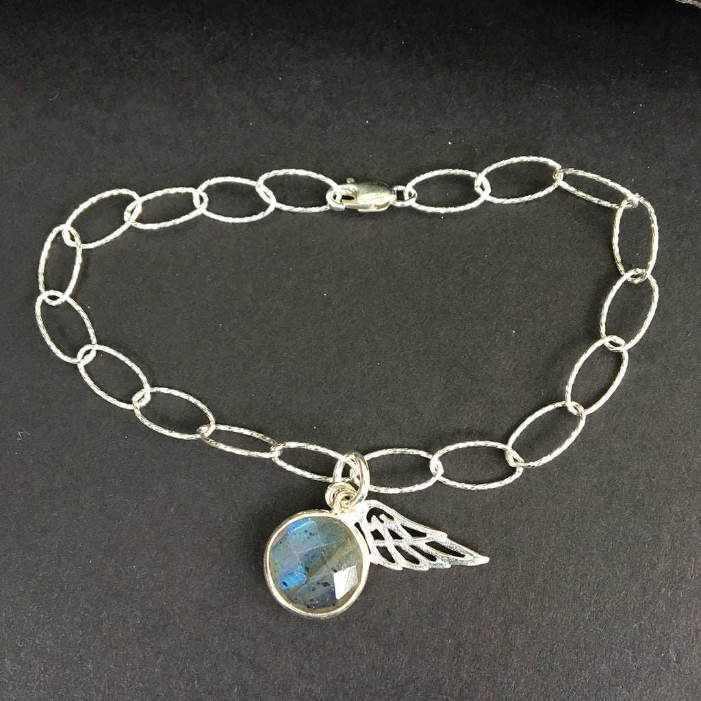 Loose Link Bracelet with Labradorite Pendant and Angel Wing
