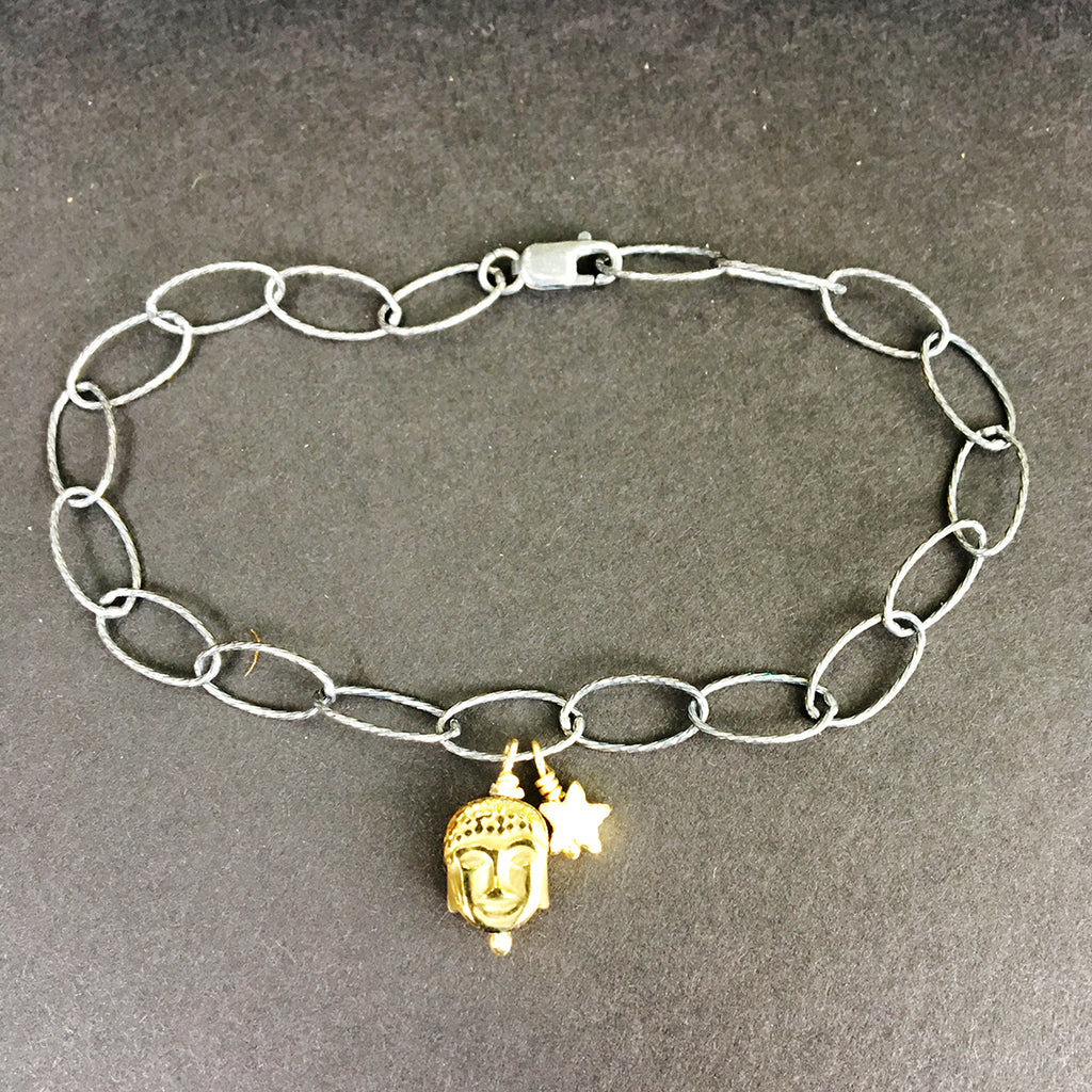 Loose Link Chain Bracelet with Gold Buddha and Star