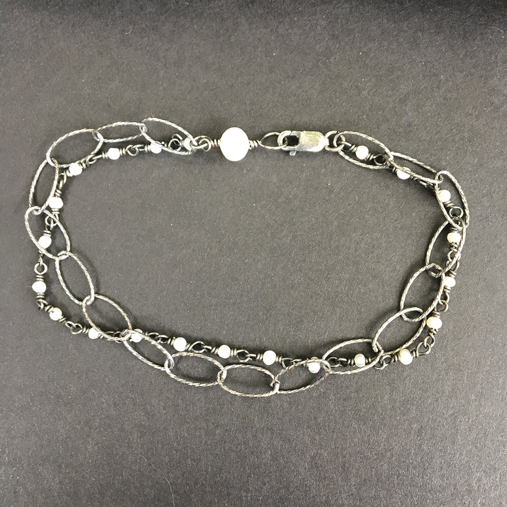 Loose Link and Pearl Chain Bracelet