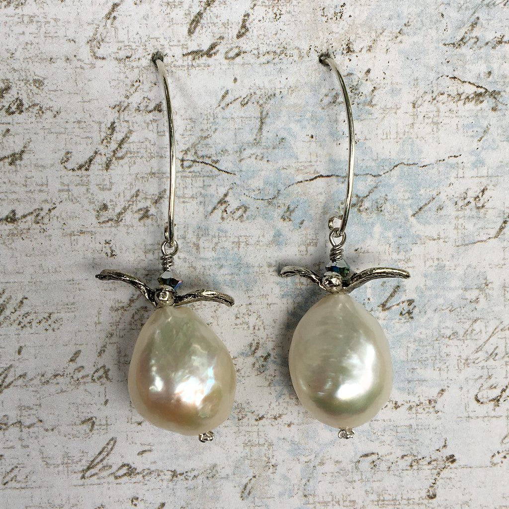 Medium Pearls with Flying Bird Earrings