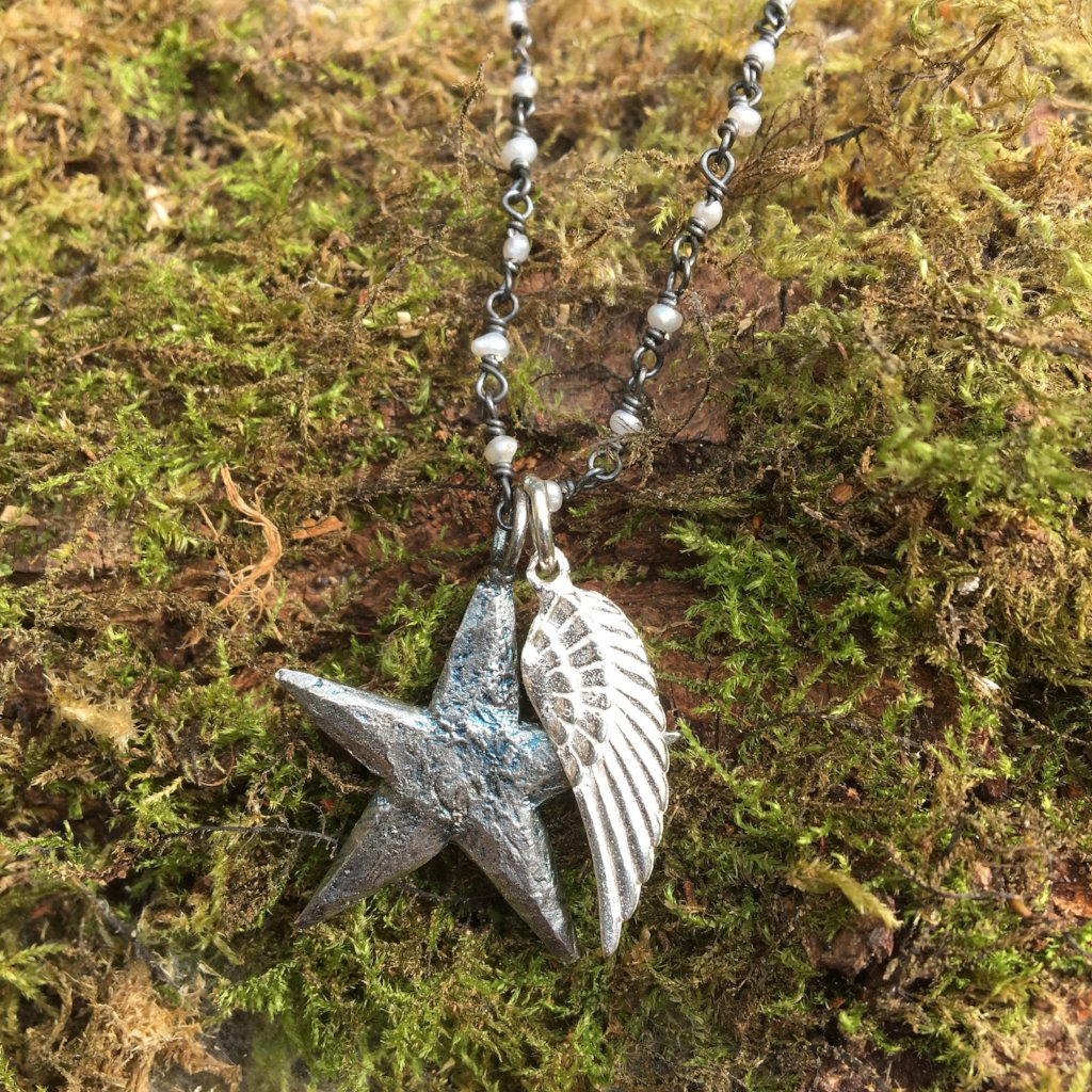 Medium Star and Angel Wing Necklace
